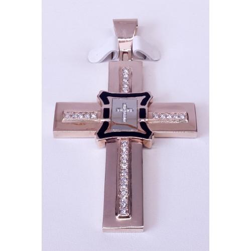 Krzyż złoty z emalią i diamentami