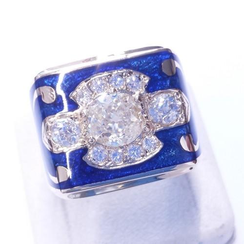 Sygnet z błękitną emalią i diamentami