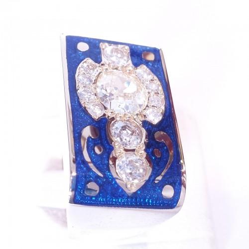 Sygnet z błękitną emalią i diamentami ver.1