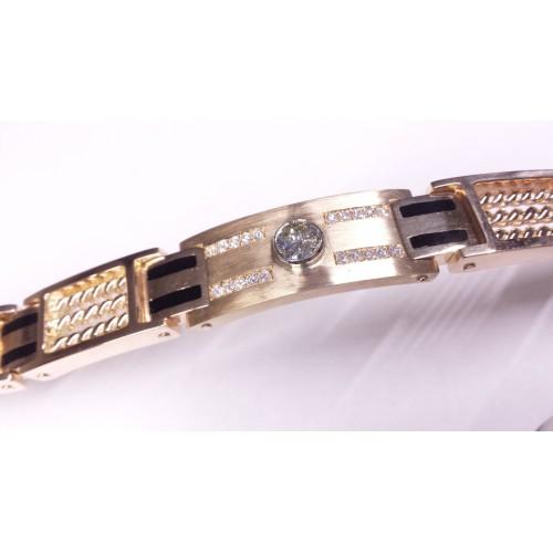 Bransoletka złota z diamentami i emalią
